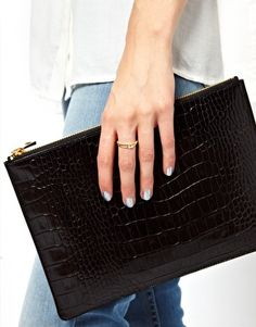 Whistles Leather Simple Clutch Bag