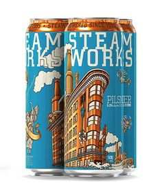 Steamworks Brewery Cans designed by Brandever, Vancouver, Canada | #packaging #design