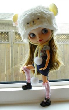 Blythe white pom pom bear hat with face by AltheasDollHouse, $32.95