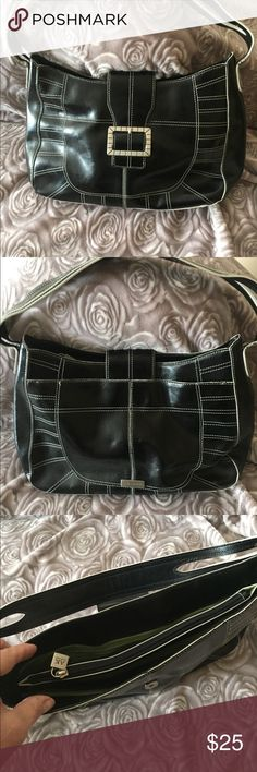 Anne Klein black leather purse Very lightly used scratch-free black leather purse. One strap and white contrast stitching. Clean and ready for you! Anne Klein Bags Shoulder Bags