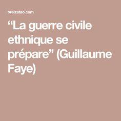 """""""La guerre civile ethnique se prépare"""" (Guillaume Faye)"""