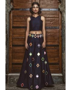 Buy Blue Mayyur Girotra Mirrored Lehenga Online For Women At Flash Sale | Styletag, India - Styletag
