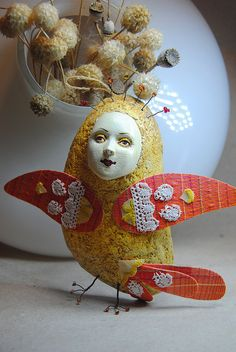 Sirin bird orange OOAK Art Doll-pendant interior, Handmade, Papier mache by JuliasArtStore on Etsy
