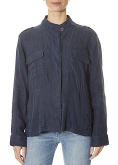 'Sahara' Dark Blue Jacket | Jessimara London Denim Button Up, Button Up Shirts, Leopard Dress, Spring Jackets, Striped Shorts, Yellow Dress, Utility Jacket, Dark Blue, London