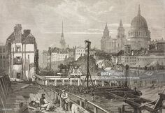 Railway works at Blackfriars and opening towards Ludgate Hill, viewed from Temporary Bridge, London, England, United Kingdom, illustration from magazine Illustrated London News, volume XLIV, April 28, 1864