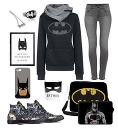 """""""Always be Batman"""" by rossie-rz ❤ liked on Polyvore featuring WithChic, Metal Mixology, J Brand, Converse and Casetify"""