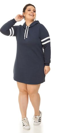 57c4b44c6 Vestido Plus Size de Moletom com Capuz Marinho Miss Masy Plus