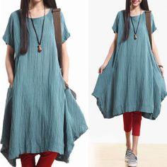 Blue pleated dress / short sleeve linen irregular by dreamyil, $118.00