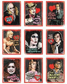 The Rocky Horror Valentine's Day Card Pack is perfect for sharing with your loved ones, friends and coworkers on Valentine's Day! Horror Posters, Horror Comics, Horror Films, Funny Horror, Horror Stories, Movie Posters, Rock Posters, Rocky Horror Show, The Rocky Horror Picture Show