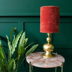 This Pearl Table Lamp with Velvet Shade has a curvaceous gold base with a beautiful coral red velvet shade that gives off a warm glow even when unlit. Cotton Velvet, Red Velvet, Eclectic Table Lamps, Guest Bedroom Home Office, Unusual Homes, Making Waves, Girl Decor, Home Accessories, Color Schemes