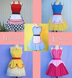 no pattern but great inspiration -Disney princess aprons. This is so cute. Would give me an excuse to dress up like a Disney Princess too. Disney Princess Aprons, Disney Aprons, Diy Disney Princess Costumes, Princess Tiana, Disney Princesses, Princess Party, Disney Characters, Sewing Crafts, Sewing Projects