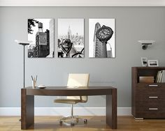 Black and white photography, New York Photography, large wall art, large canvas art set of 3 canvas art, large wall art, Empire State by PHOTOFORWALL on Etsy Office Wall Decor, Office Walls, Room Wall Decor, Large Canvas Art, Large Wall Art, New York Photography, Smooth Walls, Decorate Your Room, Vinyl Wall Decals