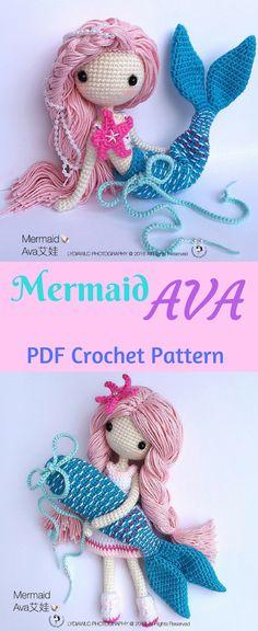 Mermaid 'Ava' and Little Girl. PDF Download Crochet Pattern. #crochetpattern #crochetdoll #amigurumi #mermaid #afflink