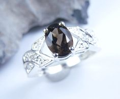Smoky quartz ring sterling silver 045 ct  ON SALE by JubileJewel, $50.00