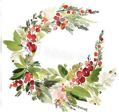 Christmas wreath with berries watercolor postcard. - Buy this stock illustration. : Christmas wreath with berries watercolor postcard. – Buy this stock illustration and explore similar illustrations at Adobe Stock Watercolor Postcard, Watercolor Cards, Watercolor Flowers, Watercolor Paintings, Watercolors, Floral Wreath Watercolor, Watercolor Christmas Cards, Christmas Drawing, Christmas Paintings