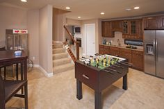 Pulte Homes, Hidden Bluffs in West Bloomington. Foosball Table and Popcorn Machine! Pulte Homes, Home Board, Bookshelves Built In, Undermount Sink, My Dream Home, Game Room, Home Improvement, New Homes, Traditional