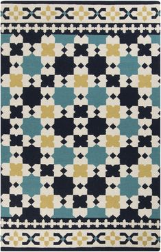 This rug features a print from the past in beautiful hues of blue and gold. From the Frontier Collection by Surya. (FT-469)