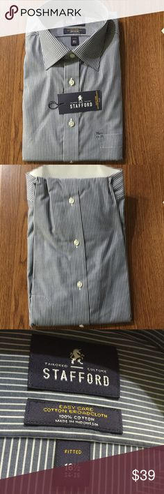 Stafford Men's Dress Shirt 100% Cotton Navy Banker Stp Shirts Dress Shirts