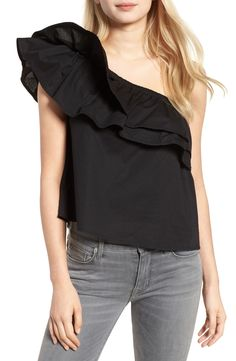 Sincerely Jules Everly One-Shoulder Cotton Top available at #Nordstrom