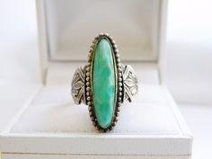 Art Nouveau Era Sterling Silver 925 Peking Glass Floral Long Ring Size 4 #Handmade #Solitaire