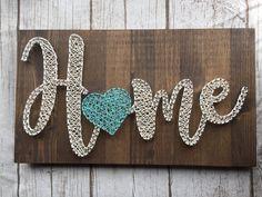 Home String Art - Blissful Days Designs Diy Crafts For Gifts, Diy Home Crafts, Arts And Crafts, String Wall Art, Nail String Art, String Art Tutorials, String Art Patterns, Tag Design, Hilograma Ideas