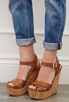 Strappy Cork-Sole Platform Wedges | Forever 21 - 2002247113