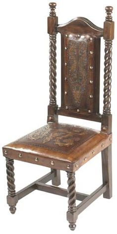 Soloman Chair Colonial - Hand tooling of leather is an ancient art performed by artisans who painstakingly chisel and carve the leather by hand. Each leather hide is selected for quality and the wood is seasoned and ages gracefully.