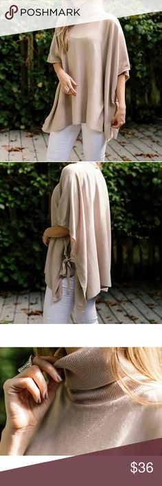 NWT!! blush poncho/cape Gorgeous pale blush pink cape/poncho from @11thstreet and photo credit goes to her!! Never worn and tags still attached. Turtle neck and bowtie sides. Super cute!!! Size m/l @11thstreet Jackets & Coats Capes