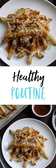 Delicious and Healthy Poutine recipe*( use parsnip , sweet potato or any low carb veg for the fries)* that uses crispy baked oven fries, low fat mozzarella cheese, and low sodium and calorie gravy. Very Low Calorie Foods, Low Calorie Recipes, Diet Recipes, Cooking Recipes, Healthy Recipes, Party Recipes, Delicious Recipes, Healthy Diet Plans, Diet Meal Plans