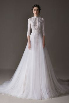 Bridal Collection Norse ERSA Atelier You will find different rumors about the real history of the wedding dress; Princess Wedding Dresses, Dream Wedding Dresses, Bridal Dresses, Lace Wedding, Wedding Dress With Pearls, Sleeve Wedding Dresses, French Wedding Dress, Modest Wedding, Gown Wedding