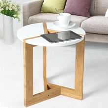 US $141.06 Modern Assembly Bamboo Side Living Room Sofa Tea Home DIY Wooden Craft White Coffee Table Nordic Fashion Round Table. Aliexpress product