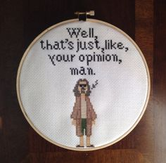 Big Lebowski CROSS STITCH. Handmade. Made by RichBitchCrossStitch, $25.00