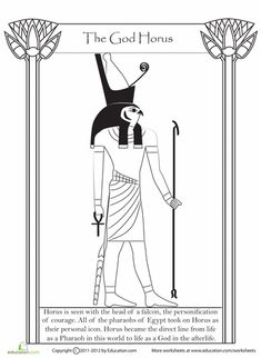 History students, enjoy a coloring page about ancient Egypt, where you'll read about one of the oldest and Egyptian gods: Horus. Egyptian Crafts, Egyptian Party, Egyptian Mythology, Egyptian Goddess, Ancient Egypt For Kids, Ancient Aliens, Ancient Greece, Egypt Art, Ancient History