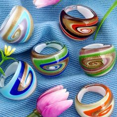 12 X Lampwork Gold Foil 6 Color Band Ring 17-19mm