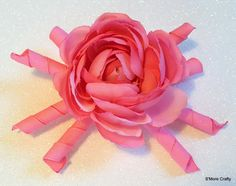 Large Pink Rose & Korker Ribbon Hair Clip, Womens Flower Barrette, Girls Korkers Hair Bow, Hairbow Present Gift Grosgrain Floral Flowers by SmoreCrafty on Etsy $6