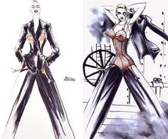 Sketches of Suit and Bustier by Jean Paul Gaultier 1990