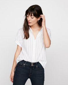 short sleeve striped cotton shirt