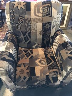 Geometric Patchwork Design Chair  - Auburn SKU V4TTEK - $228.00