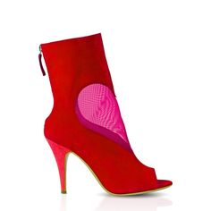 Suede open toe ankle bootie with contrasting high heel and mesh heart cut-out. Color: Red/Fuchsia Heel height: 100mm/4inches Material: Suede leather upper, mesh