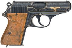 """Engraved/Gold Inlaid Walther PPK With Gold """"SS"""" Runes, High Party Leader Grips, """"RZM"""" Markings In Scarce 9mm Kurz Caliber"""
