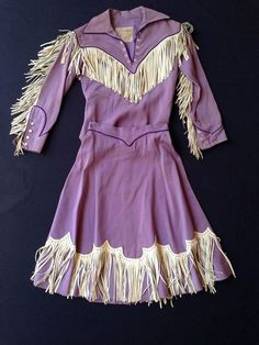 beautiful lilac Nudie Cohn vintage western outfit of shirt and fringed skirt Vintage Western Wear, Vintage Cowgirl, Cowgirl Style, Western Cowboy, Gypsy Cowgirl, Cowgirl Boots, Cowgirl Dresses, Western Dresses, Cowgirl Clothing