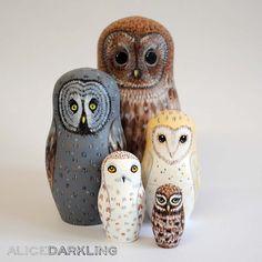 Hand painted owl nesting dolls (matryoshka, russian dolls, stacking dolls) by AliceDarkling