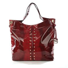 Michael Kors Stud Large Red Shoulder Bags, only $77.97