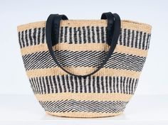 The Basket Room x Jigsaw Handwoven Tote: Black - The Basket Room   - 2