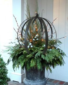 Have you tried this Garden Landscaping idea? We adore the suggestion of this ref… – Outdoor Christmas Lights House Decorations Outdoor Christmas Planters, Christmas Urns, Christmas Garden, Outdoor Christmas Decorations, Christmas Wreaths, Christmas Crafts, Holiday Decor, Etsy Christmas, Halloween Decorations