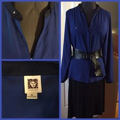 Royal Blue Blouse This blouse is a pretty shade of royal blue with navy trim and brass hardware. It is long sleeve, almost tunic length button down with hidden buttons and unique collar in a dark navy for contrast. EUC. Anne Klein Tops
