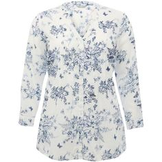 M&Co Plus Floral Print Pin Tuck Shirt (220 VEF) ❤ liked on Polyvore featuring tops, plus size, white, plus size tops, white top, white shirt, shirts & tops and plus size floral tops