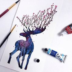(@rosies.sketchbook) Hi , this time it's a moose. I tried to make something a little different but still keep with the antlers theme . . . . .