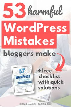 53 WordPress mistakes beginner bloggers need to avoid when they start a blog. This WordPress for beginners tutorial will show you which mistakes you are making on your WordPress blog. So you can start using WordPress to its full potential. This WordPress tutorial is bursting full with WordPress blogging tips that will help you with starting your own blog and building a successful blog to make money online. #WordPress #StartABlog #BloggingTips #BloggingForBeginners #Blogging #WordPressTips Wordpress For Beginners, Blogging For Beginners, Wordpress Help, Wordpress Premium, Make Money Blogging, How To Make Money, Creating A Blog, Blog Tips, How To Start A Blog