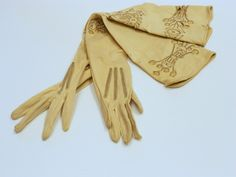 White and gold Wedding. Opera Length Long Wedding Gloves. Vintage Art Deco opera gloves with cream gold cutwork embroidery.